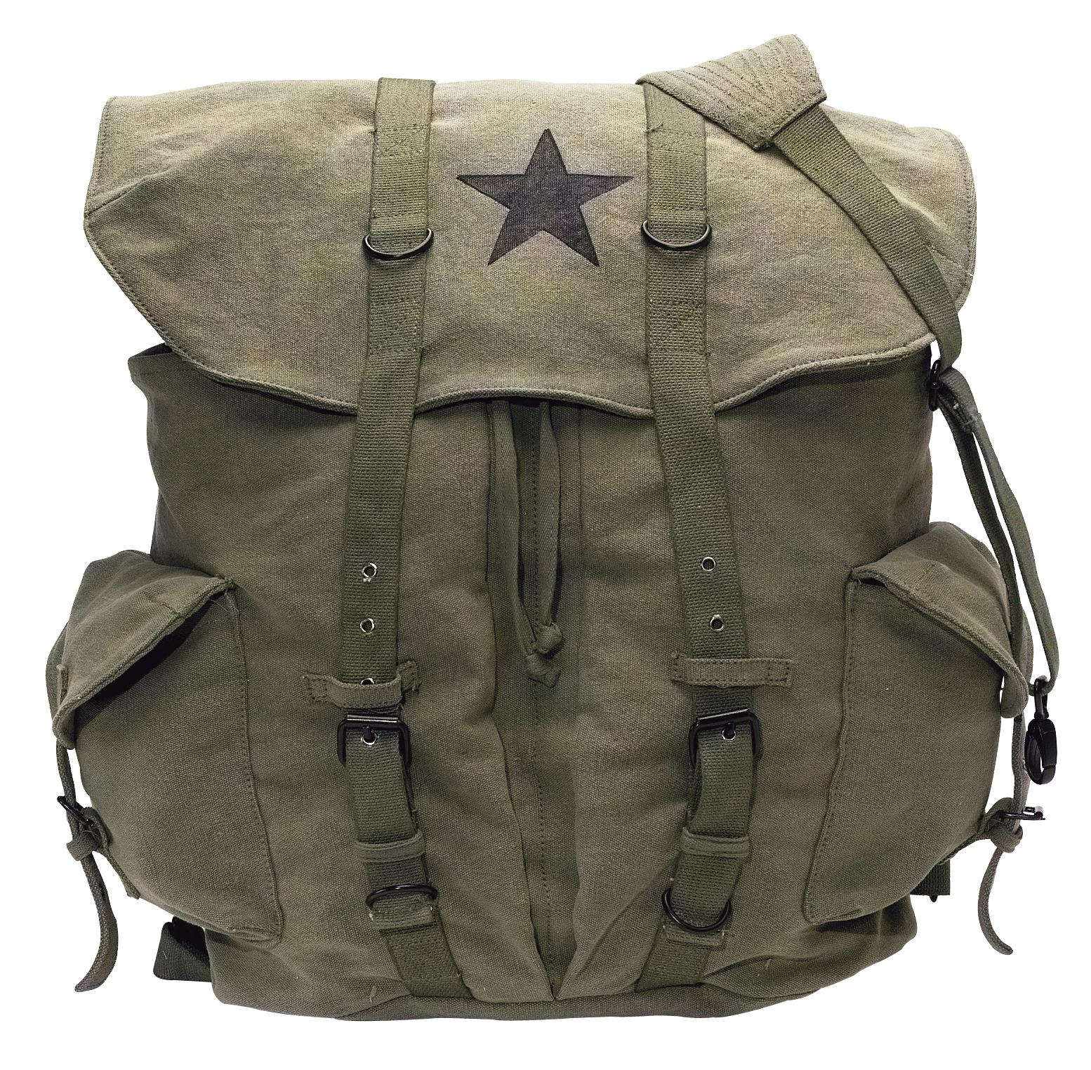Rothco Vintage Weekender Canvas Backpack with Star - Olive Drab