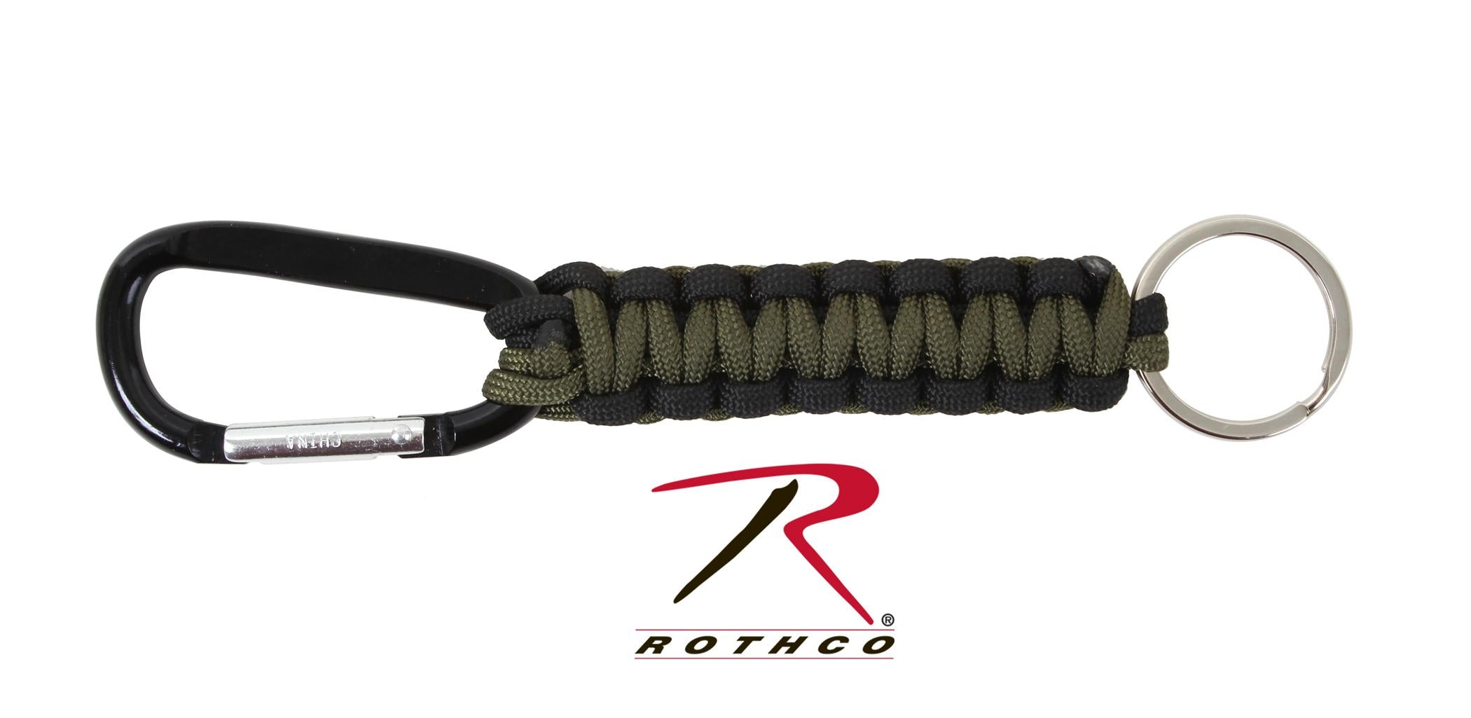 Rothco Paracord Keychain with Carabiner - Olive Drab / Black