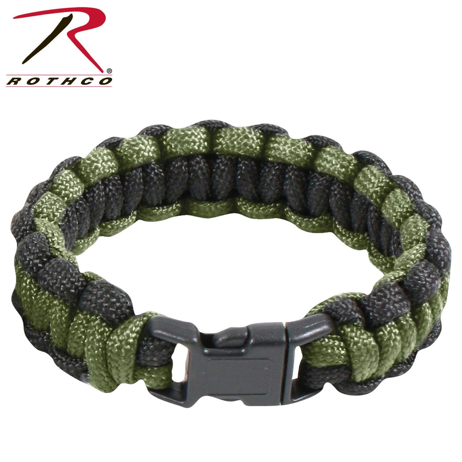 Rothco Two-Tone Paracord Bracelet - Olive Drab / Black / 10 Inches