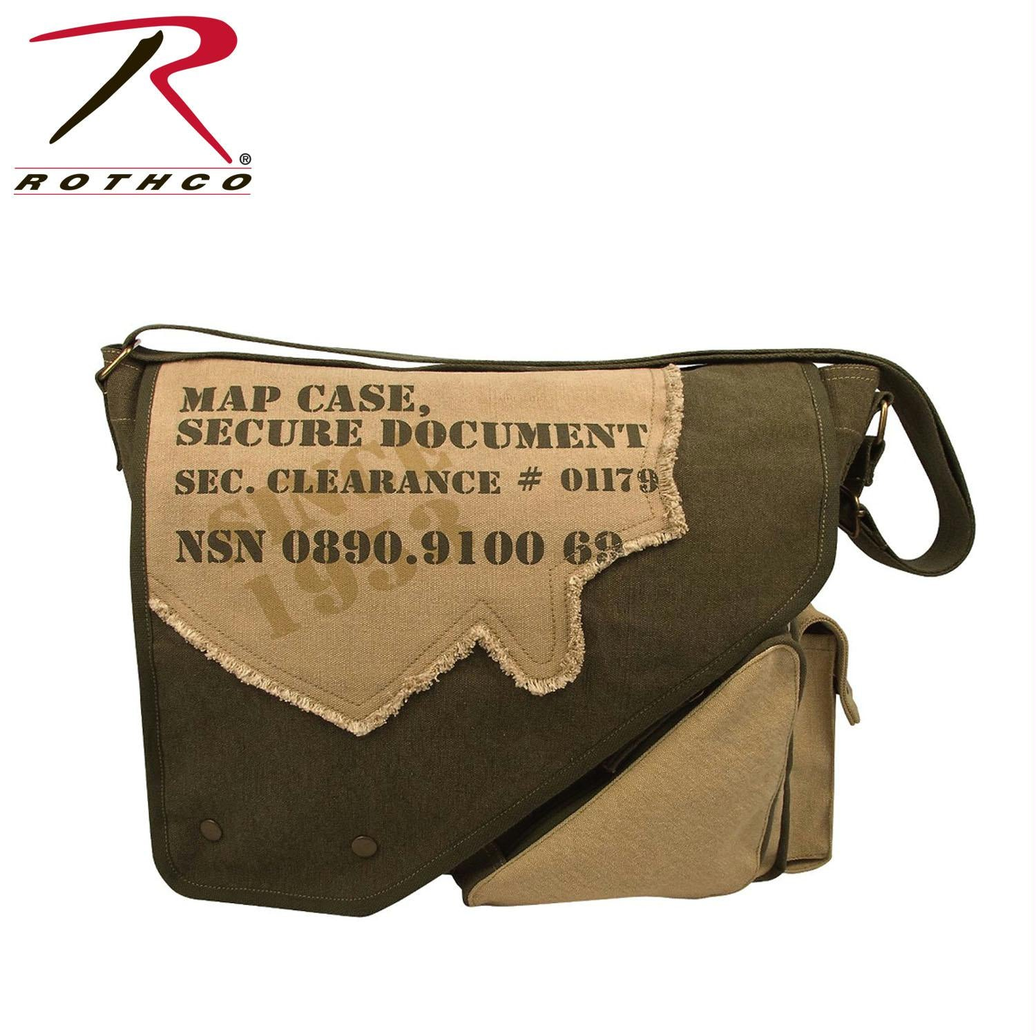 Rothco Vintage Canvas Two-Tone Imprinted Map Bag - Olive Drab / Tan