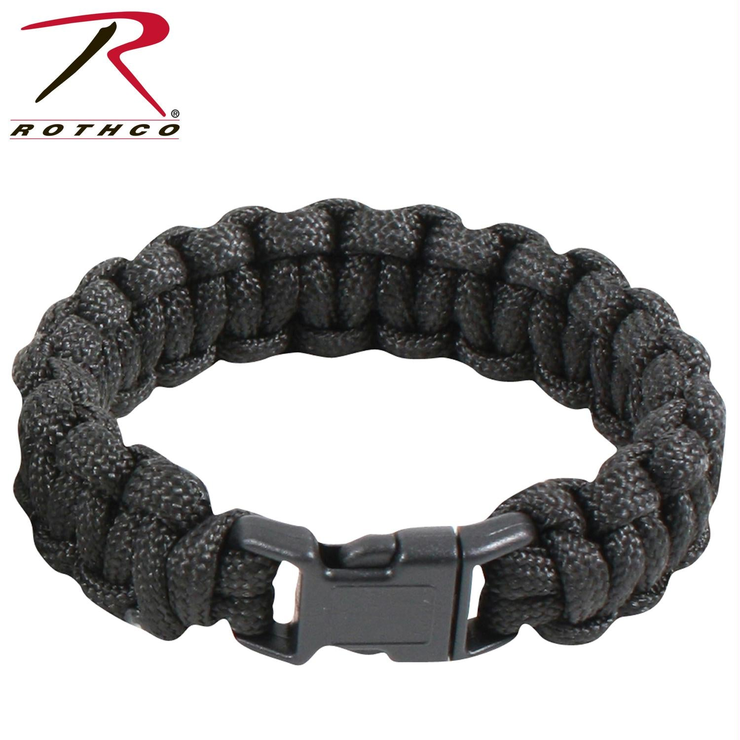 Rothco Solid Color Paracord Bracelet - Black / 10 Inches