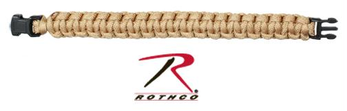Rothco Solid Color Paracord Bracelet - Coyote Brown / 7 Inches