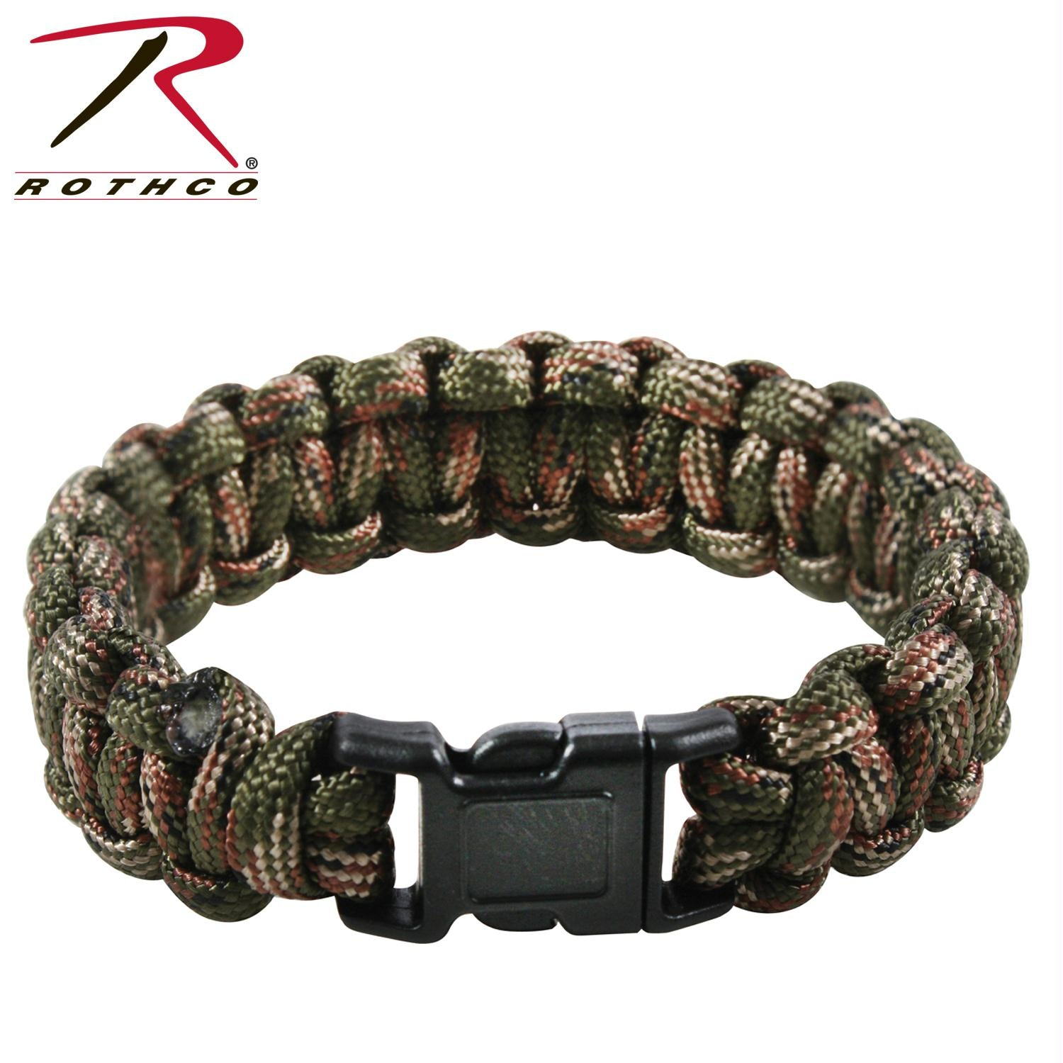 Rothco Multi-Colored Paracord Bracelet - Woodland Camo / 10 Inches
