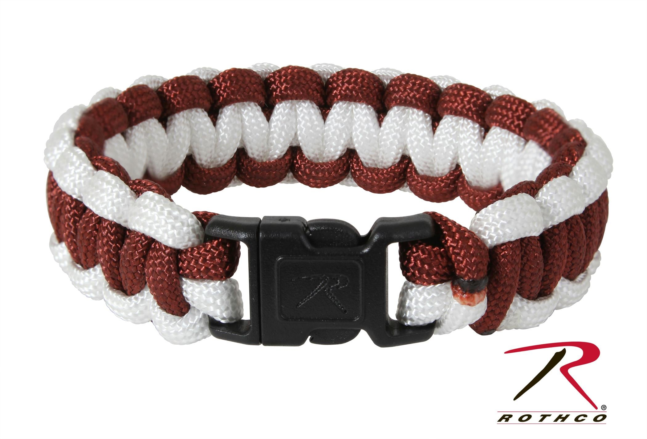 Rothco Two-Tone Paracord Bracelet - Maroon / White / 9 Inches