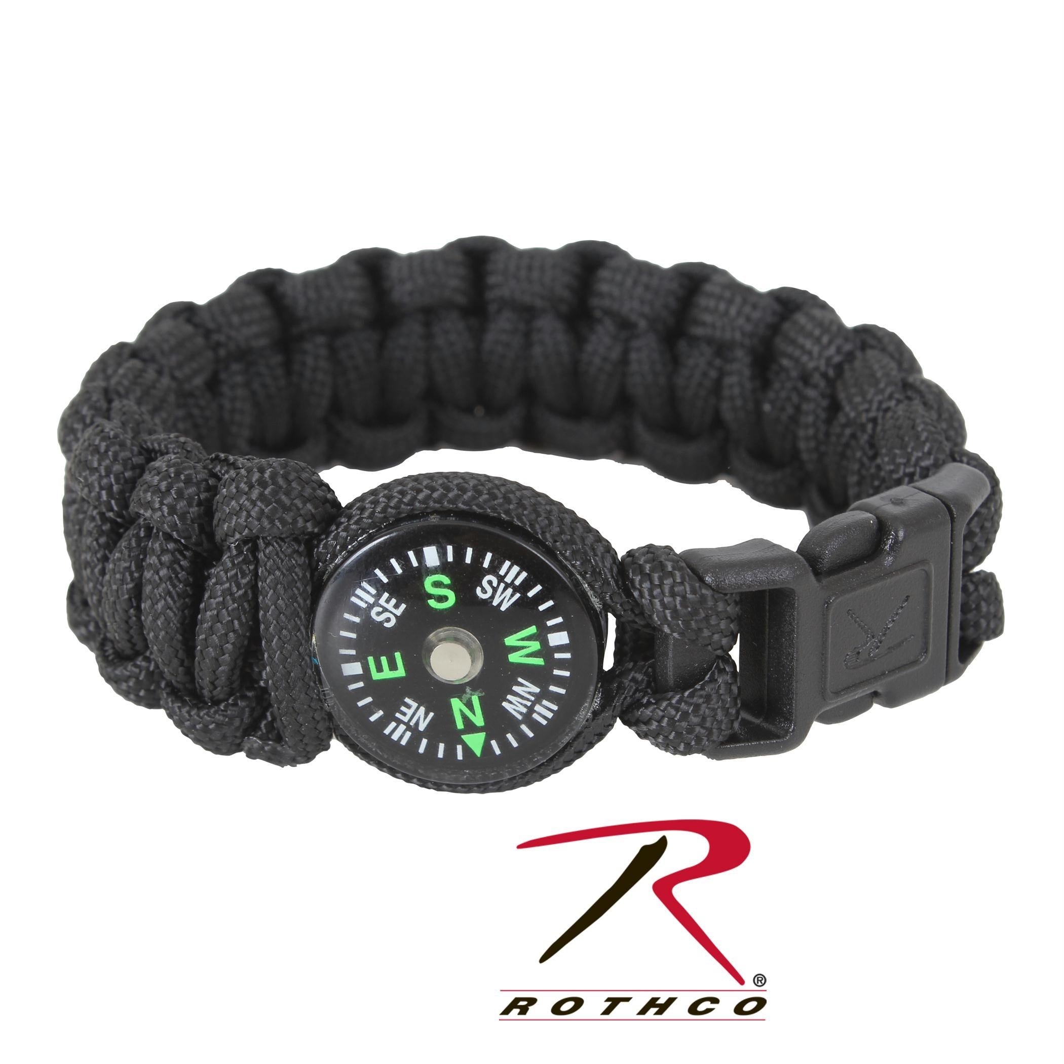 Rothco Paracord Compass Bracelet - Black / 7 Inches