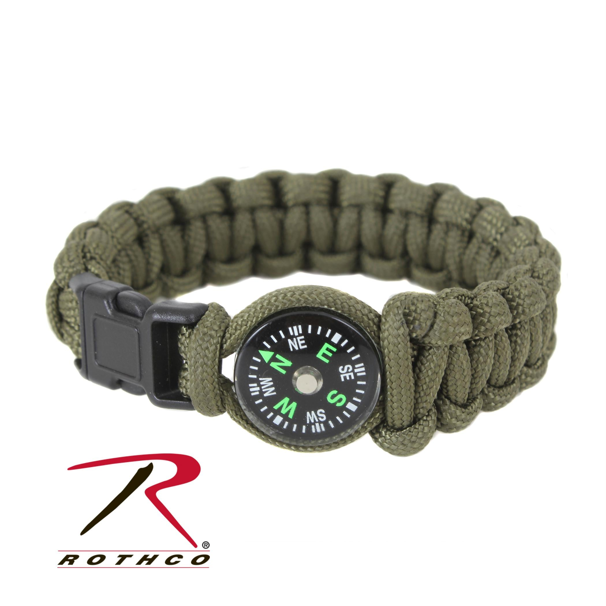 Rothco Paracord Compass Bracelet - Olive Drab / 8 Inches