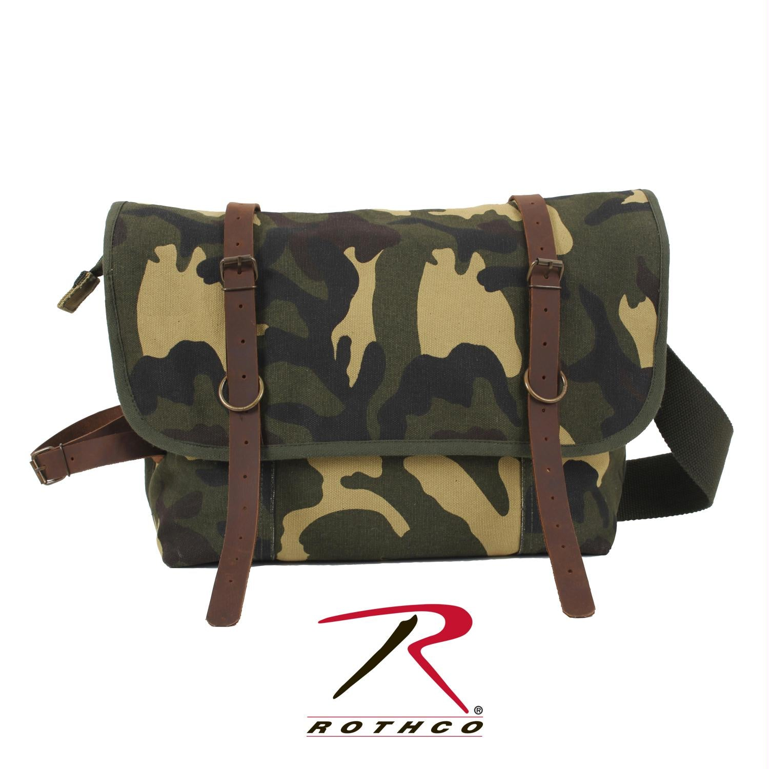Rothco Vintage Canvas Explorer Shoulder Bag w/ Leather Accents - Woodland Camo