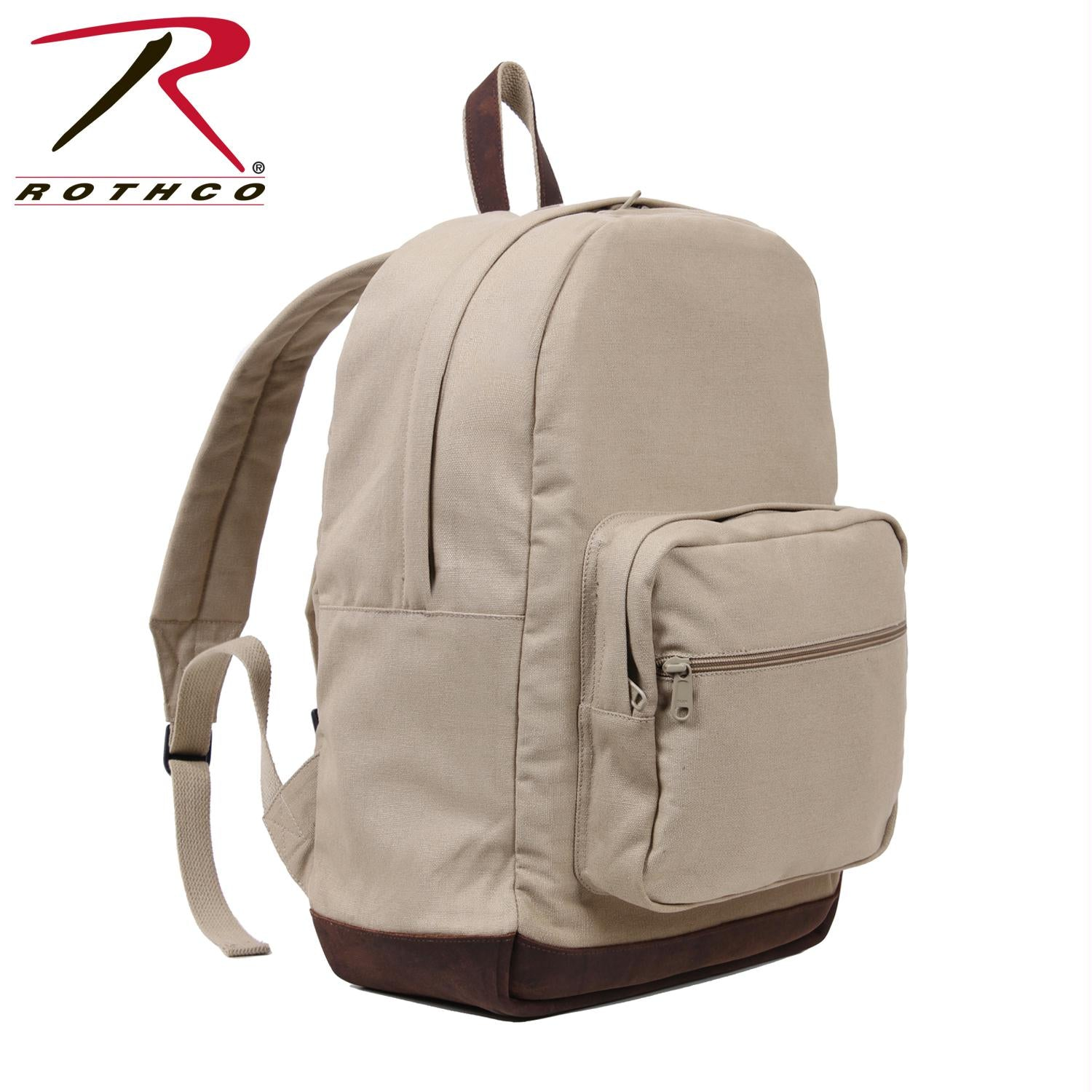 Rothco Vintage Canvas Teardrop Backpack With Leather Accents - Khaki
