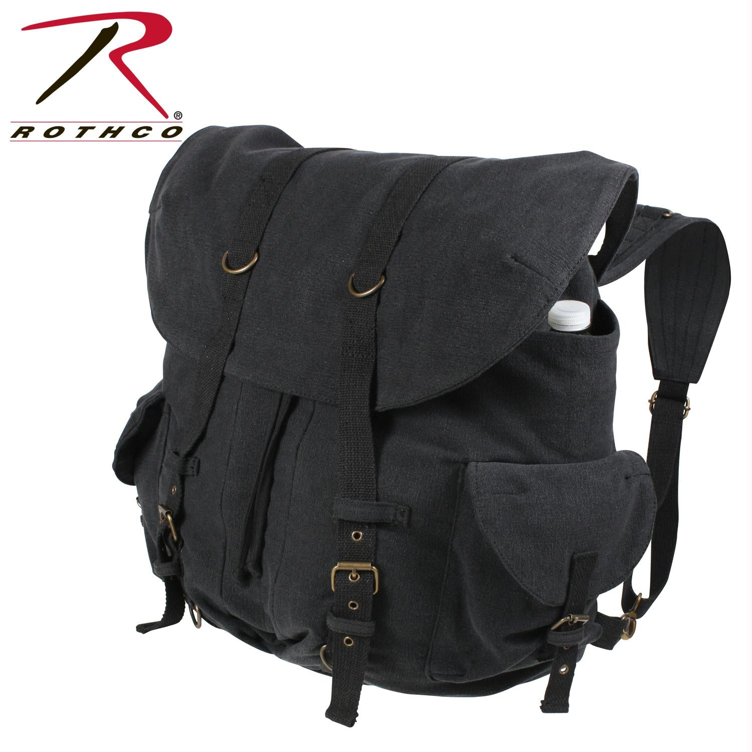 Rothco Vintage Weekender Canvas Backpack - Black