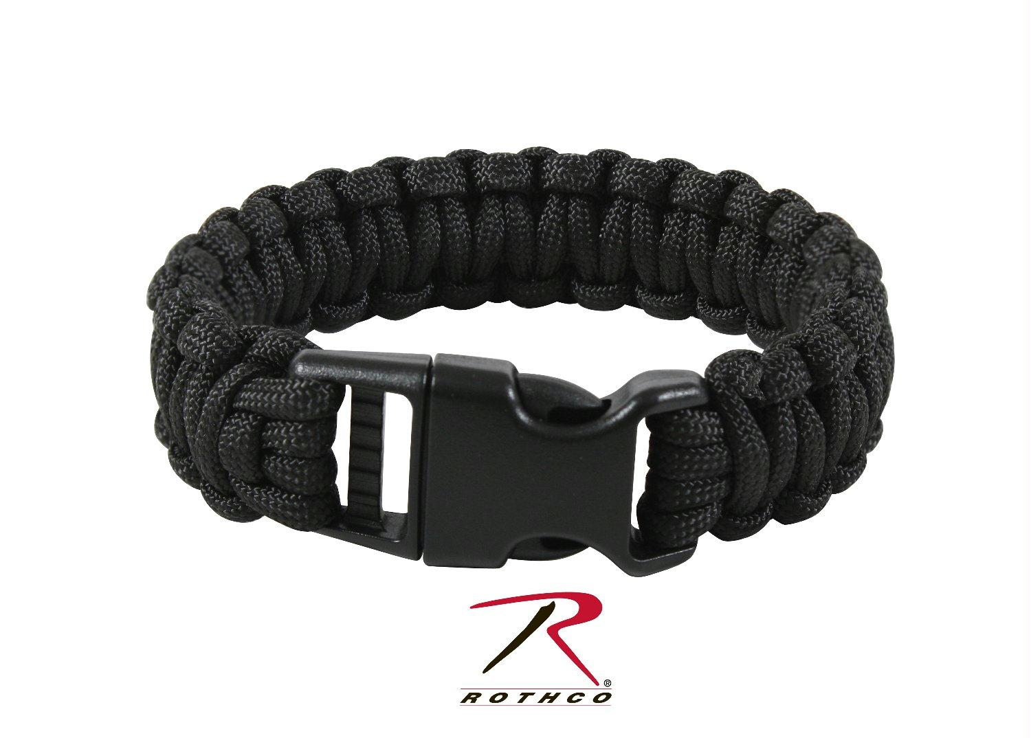 Rothco Deluxe Paracord Bracelets - Black / 9 Inches