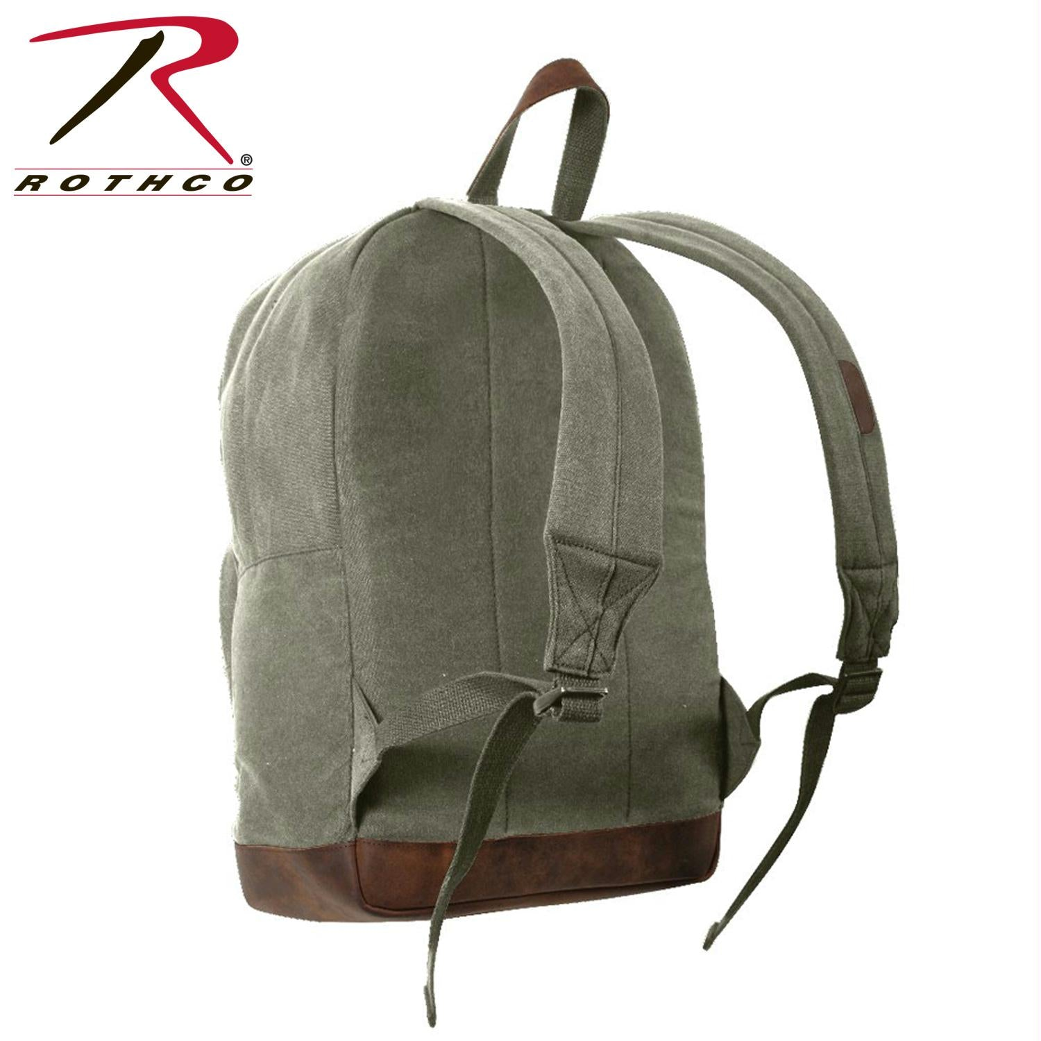 Rothco Vintage Canvas Teardrop Backpack With Leather Accents - Olive Drab