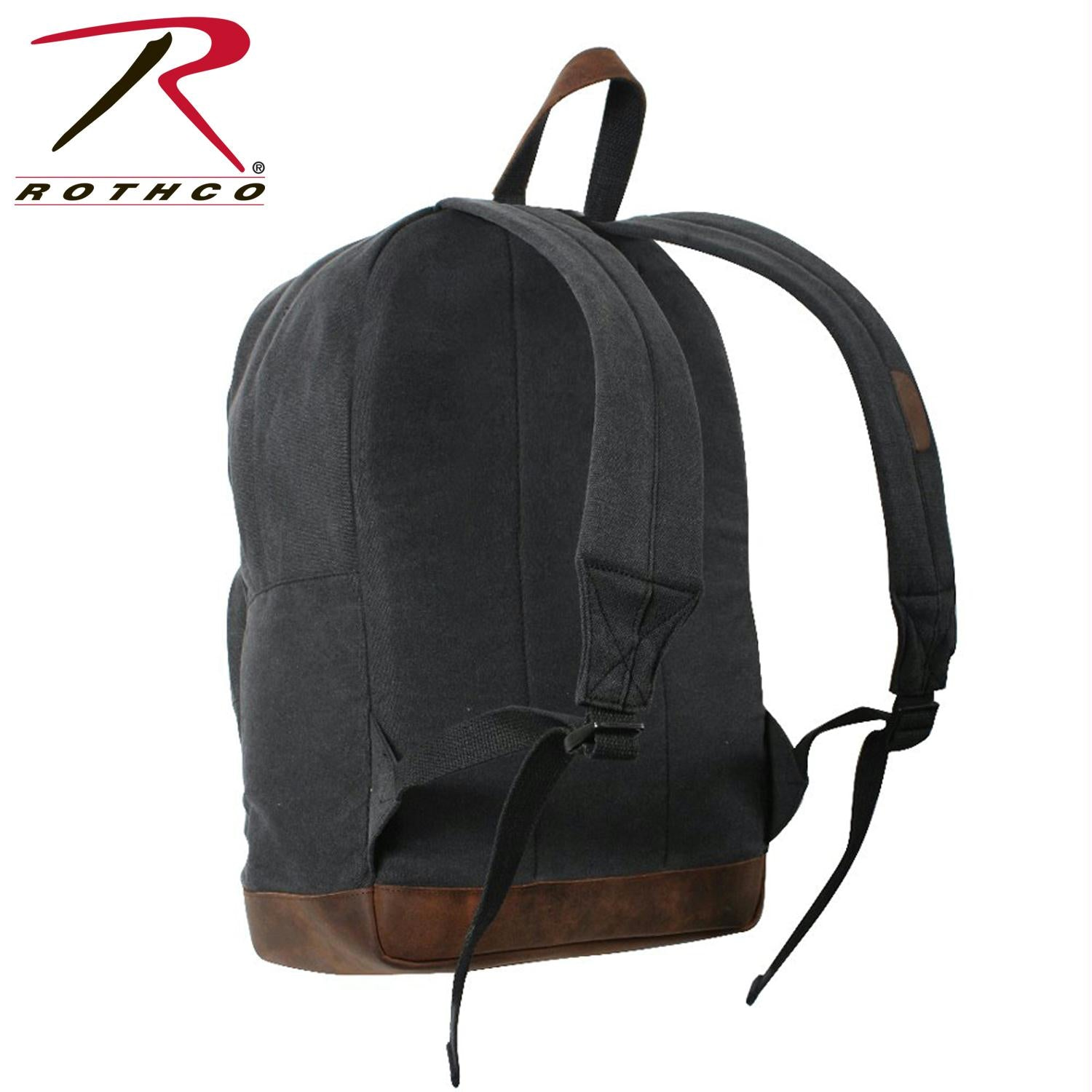 Rothco Vintage Canvas Teardrop Backpack With Leather Accents - Black / Brown