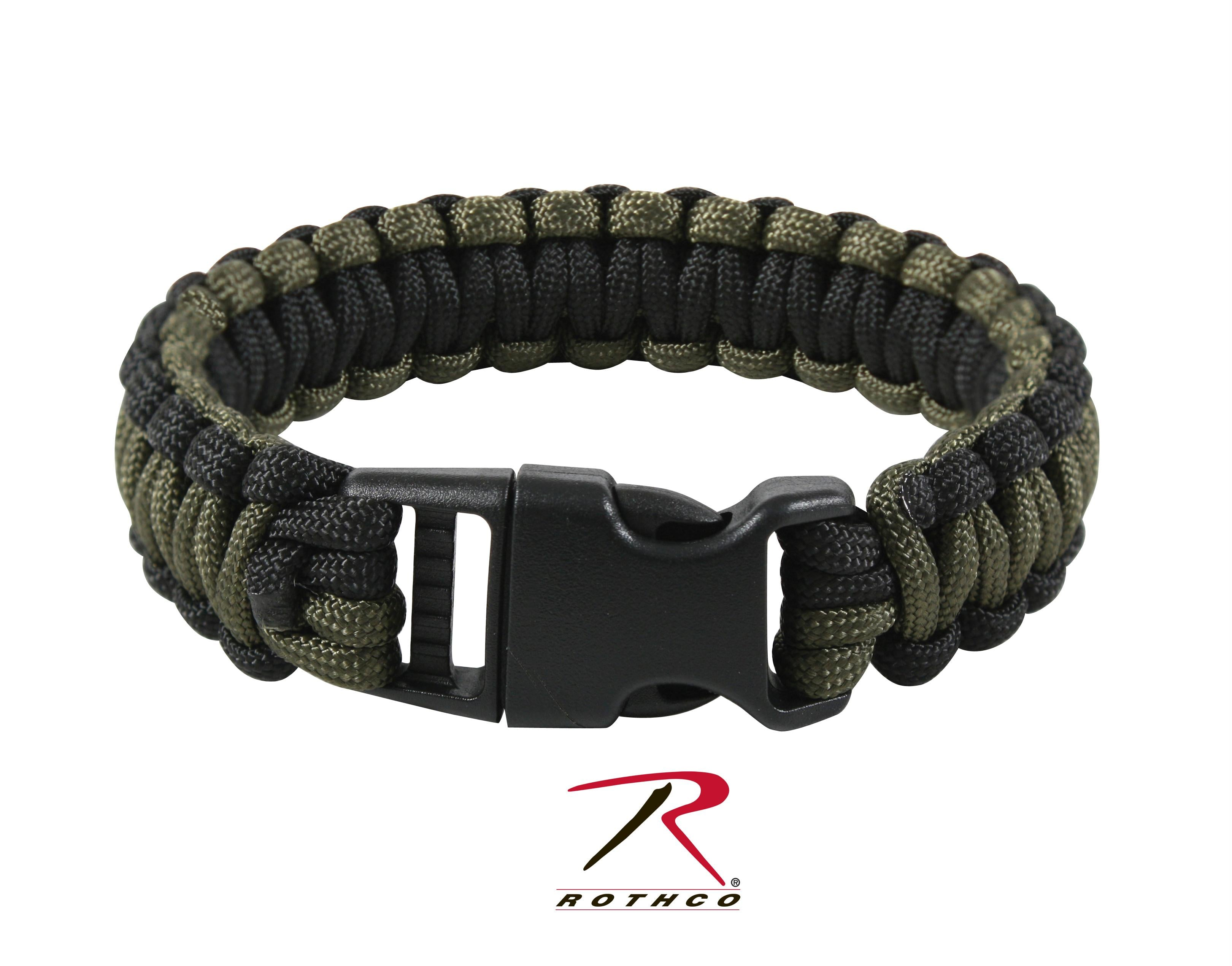 Rothco Deluxe Paracord Bracelets - Black / Olive Drab / 7 Inches
