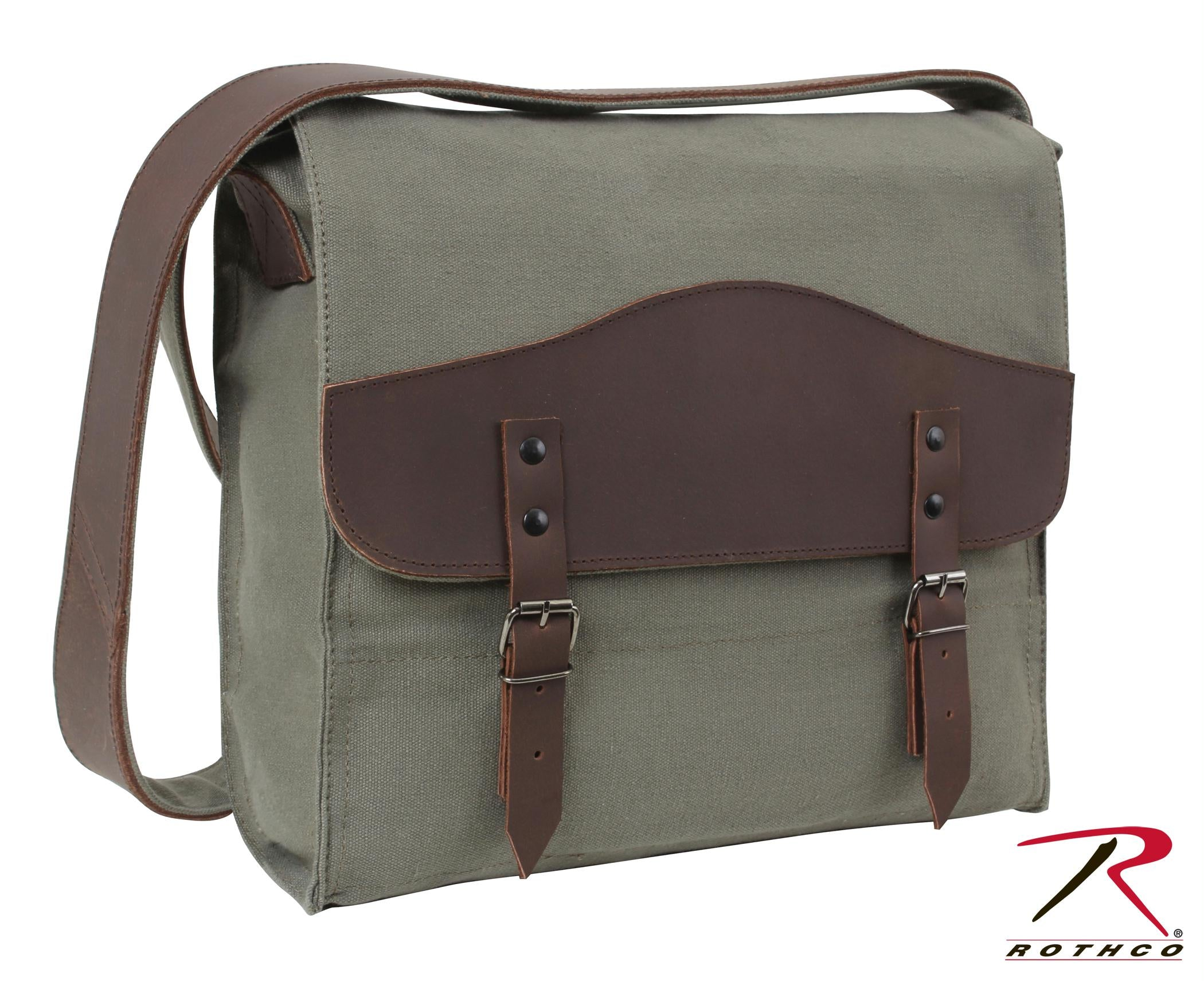 Rothco Vintage Canvas Medic Bag w/ Leather Accents - Olive Drab