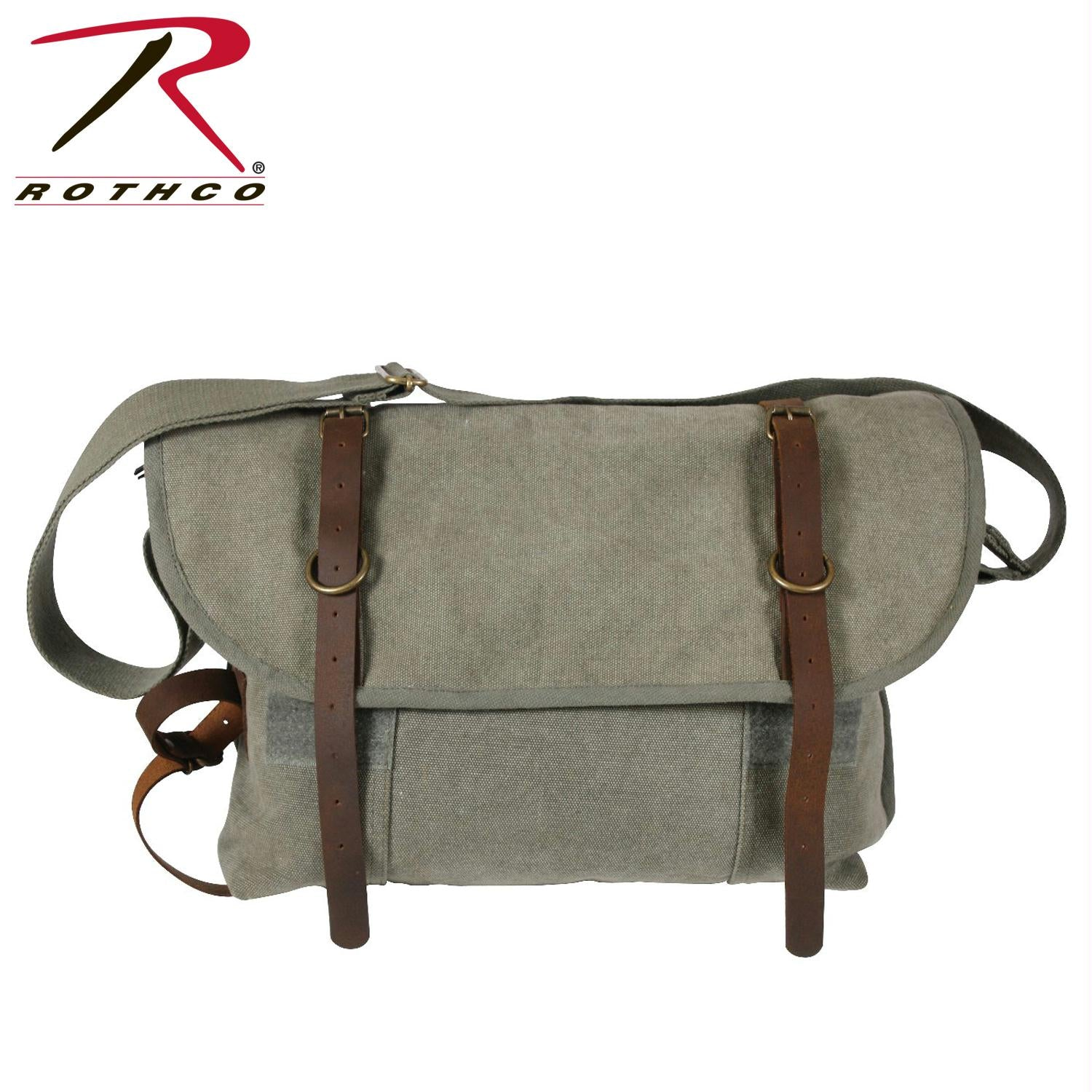 Rothco Vintage Canvas Explorer Shoulder Bag w/ Leather Accents - Olive Drab