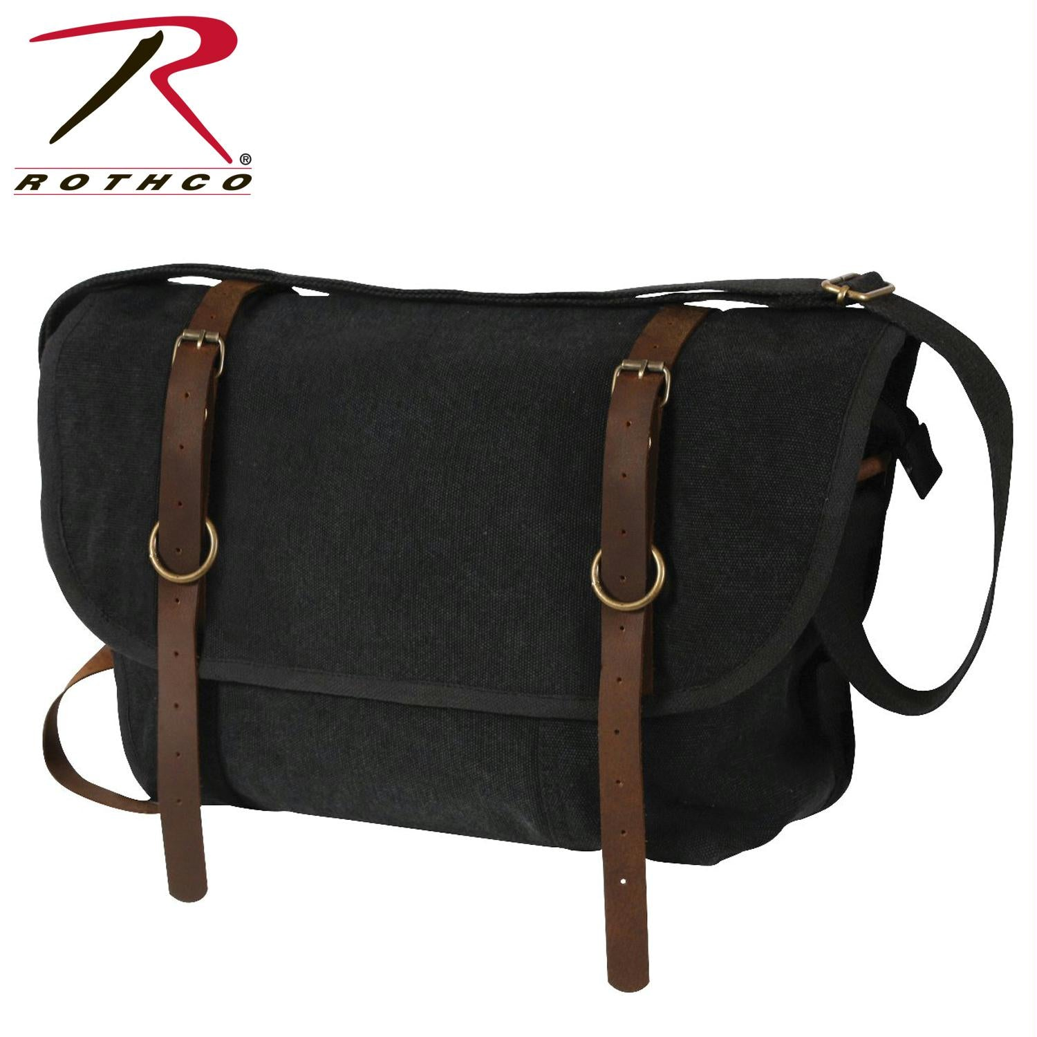 Rothco Vintage Canvas Explorer Shoulder Bag w/ Leather Accents - Black
