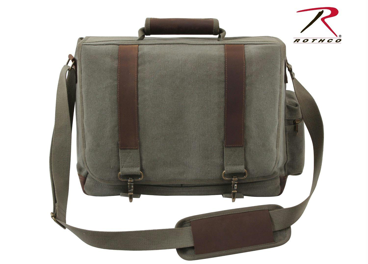 Rothco Vintage Canvas Pathfinder Laptop Bag With Leather Accents - Olive Drab