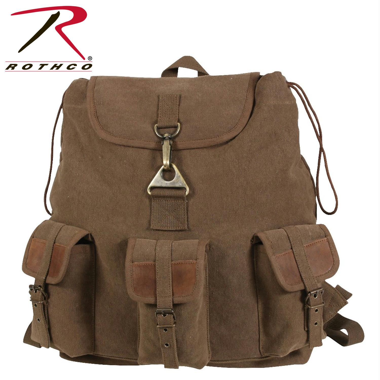 Rothco Vintage Canvas Wayfarer Backpack w/ Leather Accents - Brown