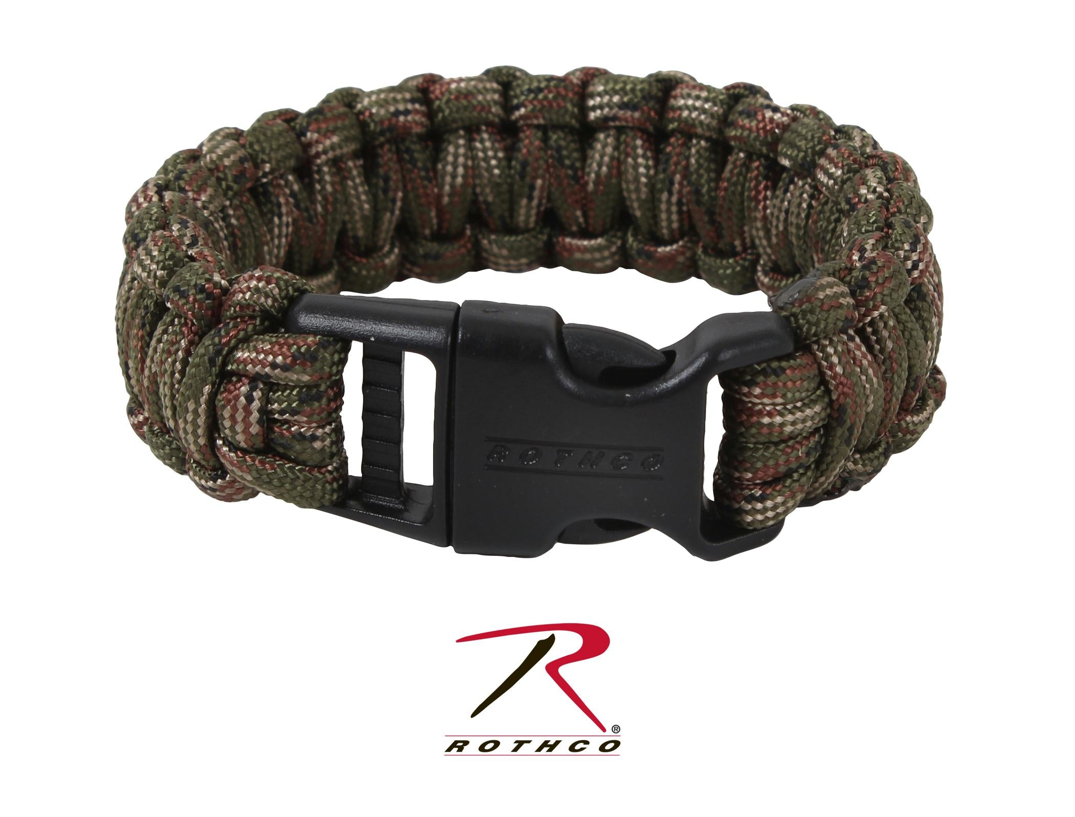 Rothco Deluxe Paracord Bracelets - Woodland Camo / 8 Inches