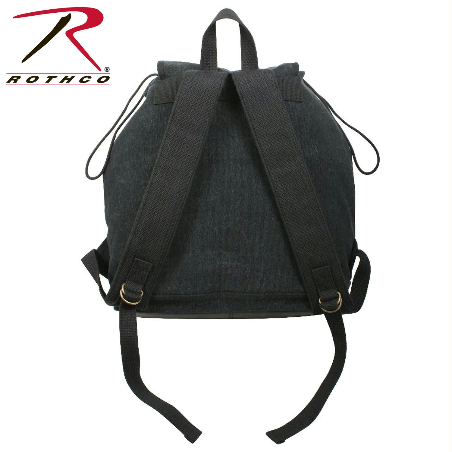 Rothco Vintage Canvas Wayfarer Backpack w/ Leather Accents - Black