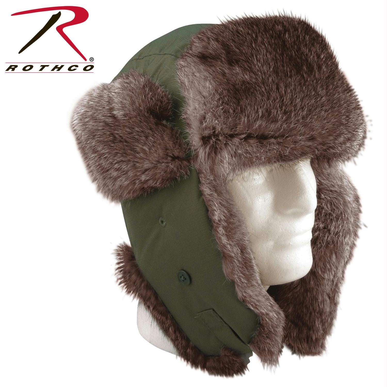 Rothco Fur Flyer's Hat - Olive Drab / 7 1/4