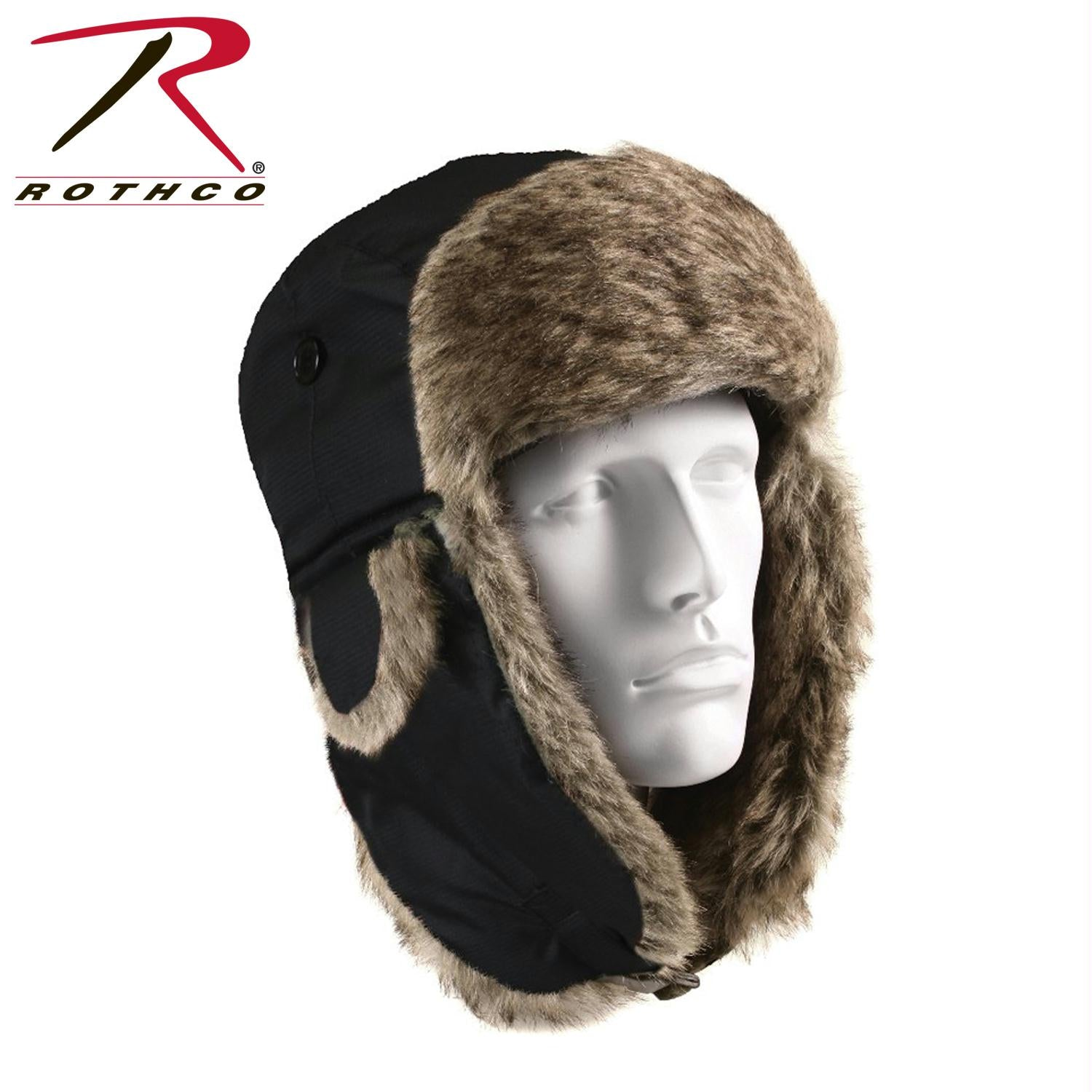 Rothco Fur Flyer's Hat - Black / 7 1/2