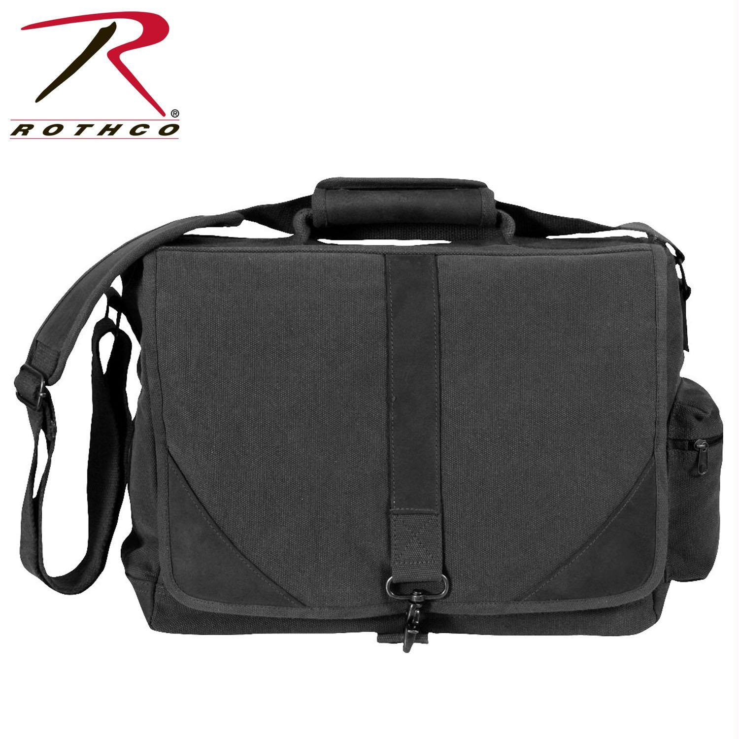 Rothco Vintage Canvas Urban Pioneer Laptop with Leather Accents - Black