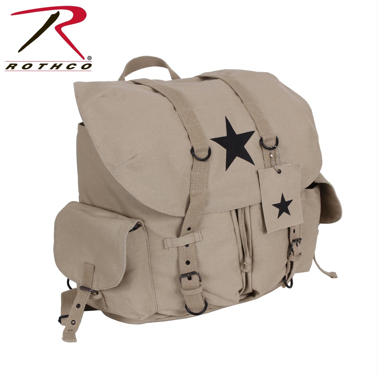 Rothco Vintage Weekender Canvas Backpack with Star - Khaki