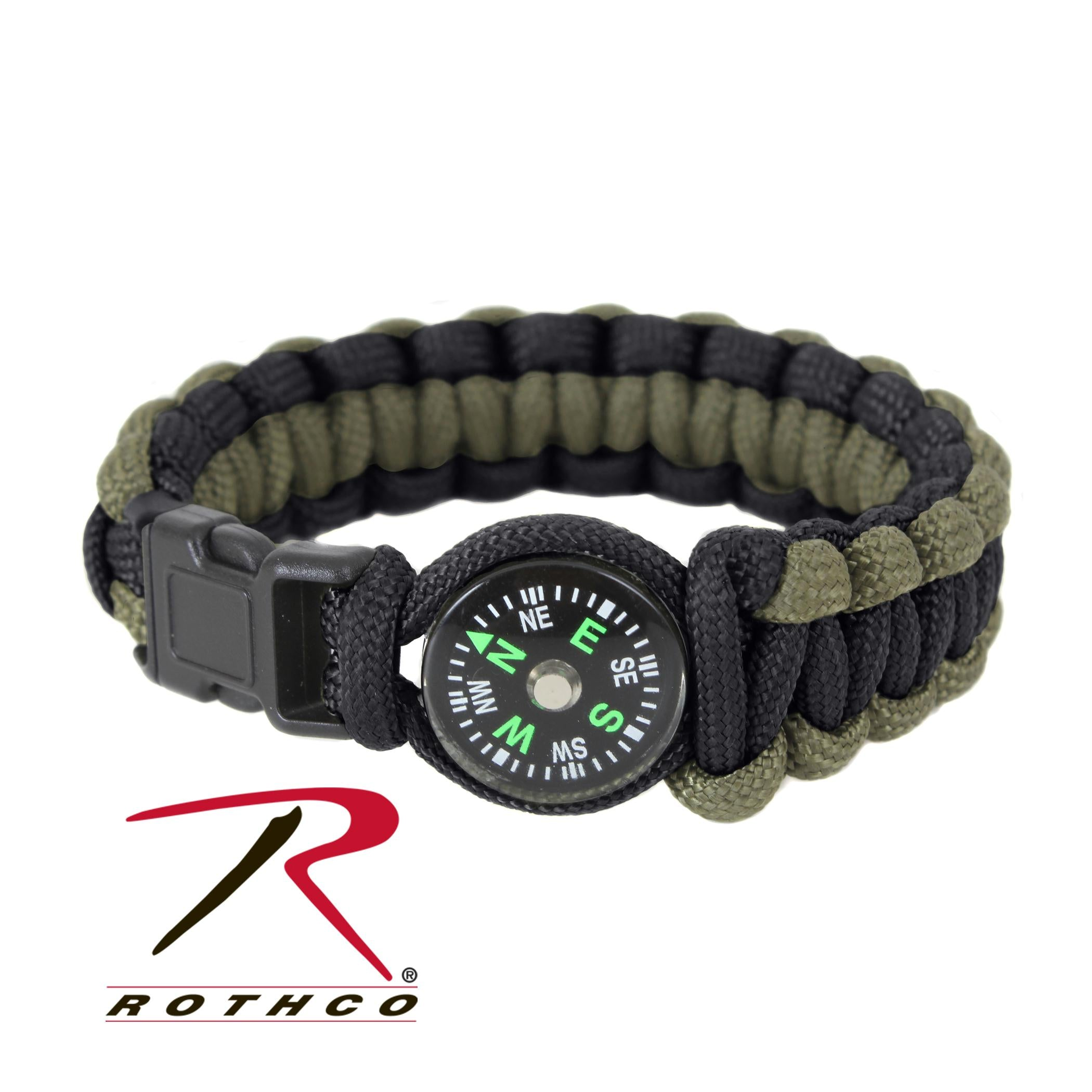 Rothco Paracord Compass Bracelet - Olive Drab / Black / 8 Inches