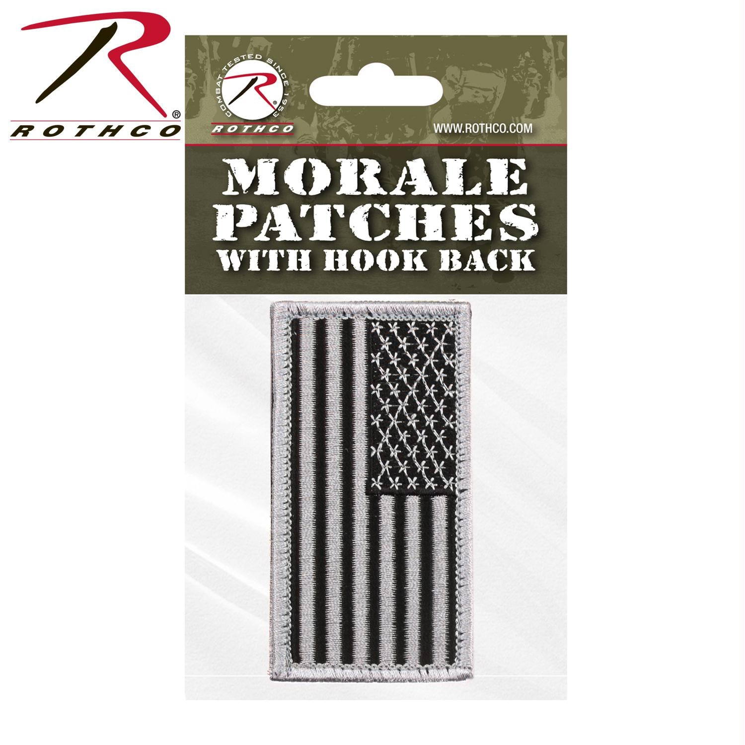 Rothco American Flag Patch - Black / Silver / Normal / Header Card