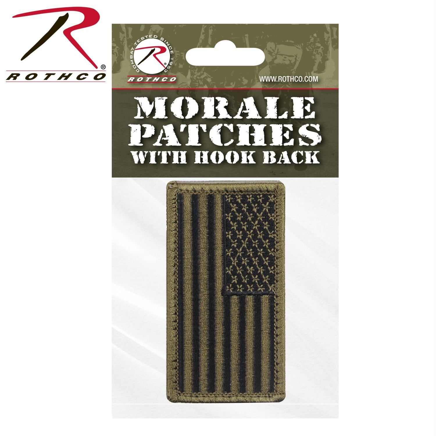 Rothco American Flag Patch - Black / Olive Drab / Normal / Header Card