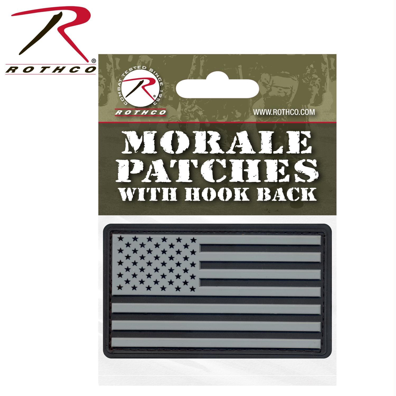 Rothco PVC US Flag Patch With Hook Back - Black / Silver / Header Card