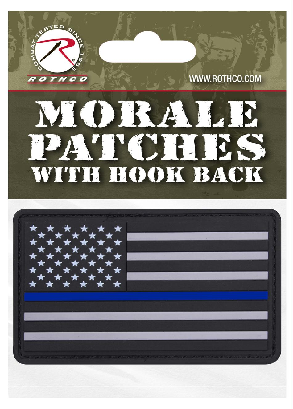 Rothco PVC Thin Blue Line Flag Patch - Header Card
