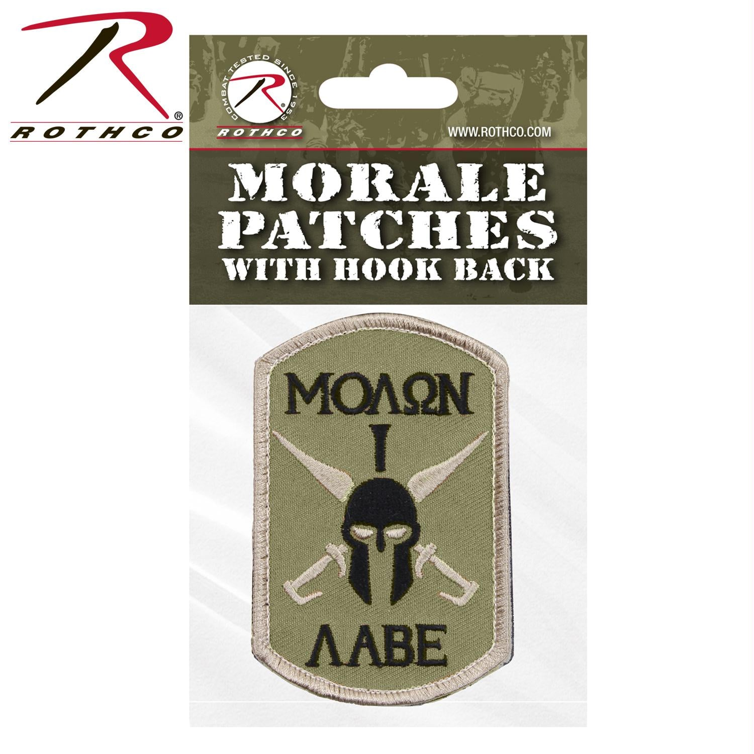 Rothco Molon Labe Spartan Morale Patch - Tan / Header Card / One Size