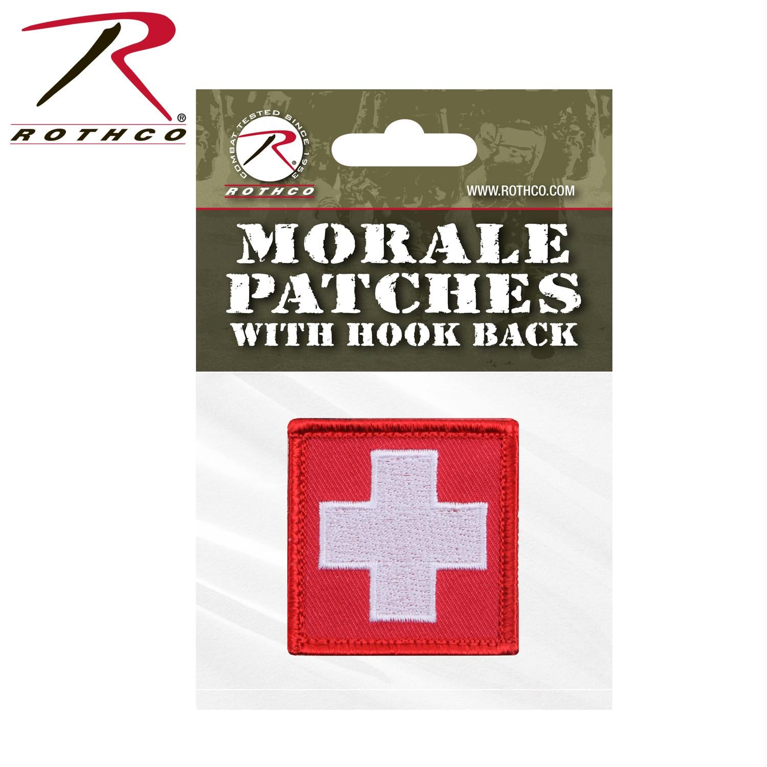 Rothco White Cross Red Morale Patch - Header Card
