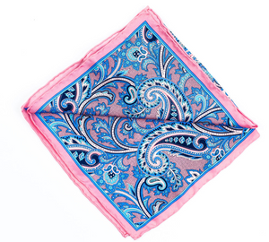 Blue pink paisley