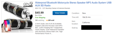Waterproof Motorcycle Audio