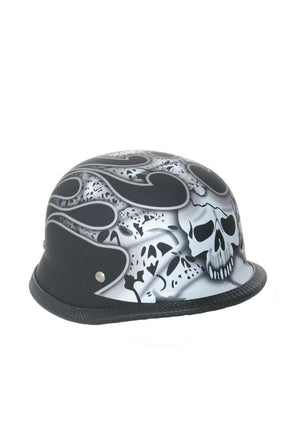 Daniel Smart Manufacturing Close Outs H11SV Novelty German Silver Skull & Flames/Flat Black - Non DOT