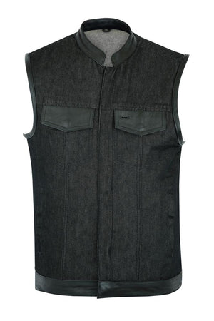 Daniel Smart Manufacturing New Arrivals DM962 Men's Rough Rub-Off Raw Finish Denim Vest W/Leather Trim - Scoo