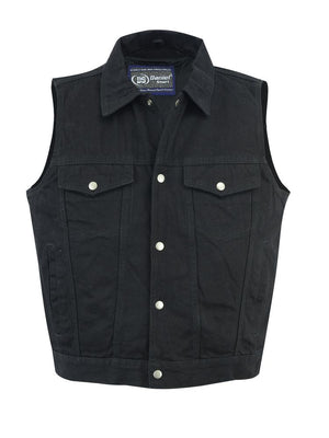 Daniel Smart Manufacturing New Arrivals DM979BK Snap/Zipper Front Denim Vest- Black