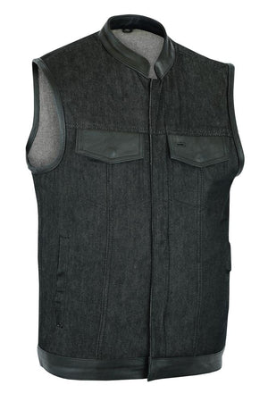 Daniel Smart Manufacturing New Arrivals S DM962 Men's Rough Rub-Off Raw Finish Denim Vest W/Leather Trim - Scoo