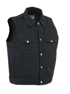 Daniel Smart Manufacturing New Arrivals S DM979BK Snap/Zipper Front Denim Vest- Black
