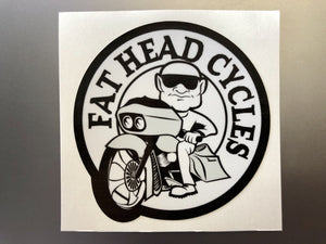 Fat Head Cycles Fat Head Cycles Apparel Black & White Fat Head Cycles Sticker