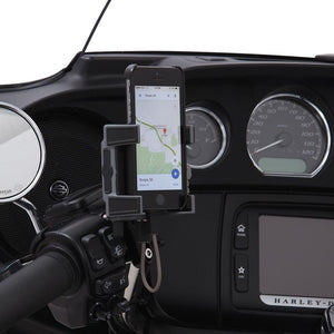 Fat Head Cycles Harley-Davidson Accessories Ciro Premium Smartphone/GPS Holder w/ Charger - Black Perch Mount