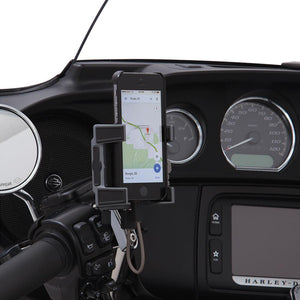 Fat Head Cycles Harley-Davidson Accessories Ciro Premium Smartphone/GPS Holder w/ Charger - Chrome Perch Mount