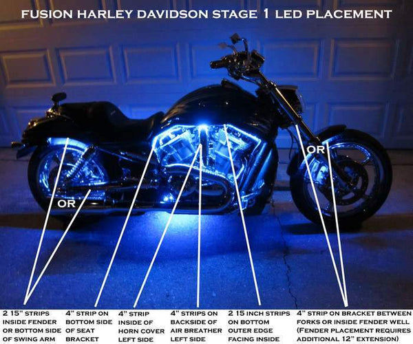 Fat Head Cycles Harley-Davidson Accessories Harley-Davidson® Fusion Stage 1 LED Lighting Kit | Non-Touring Bikes