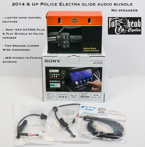 Fat Head Cycles Harley-Davidson Custom Audio '14-'20 Police Electra Glide (FTHTP) Sony XAV-AX7000 Plug & Play Audio Bundle