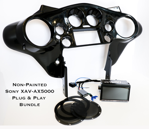 Fat Head Cycles Harley-Davidson Custom Audio Sony XAV-AX5000 Plug & Play Bundle w/ Metra 95-HDIF Inner Fairing | '99 - '13