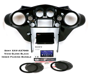 Fat Head Cycles Harley-Davidson Custom Audio Vivid Gloss Black Sony XAV-AX7000 Plug & Play Bundle w/ Metra 95-HDIF Inner Fairing | '99 - '13