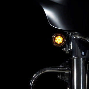 Fat Head Cycles Harley-Davidson Custom Lighting ProBEAM® Front Amber/White Dynamic Rings w/ Smoked Lenses For Harley-Davidson® | 2000-2020